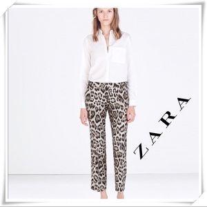 Zara Leopard Print Ankle Legs Trousers  / Pants